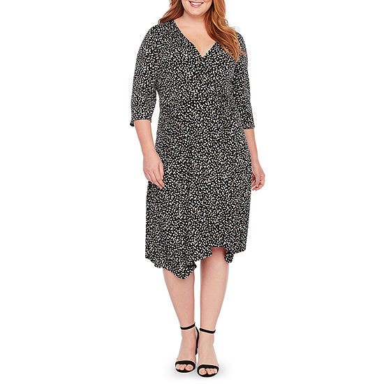 Perceptions 3 4 Sleeve Dots Fit Flare Dress Plus