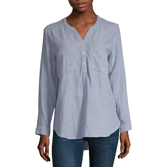 Ana Womens Long Sleeve Button Front Shirt Tall