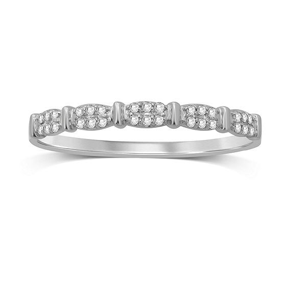 Womens Diamond Accent Genuine White Diamond 10K White Gold Wedding Band