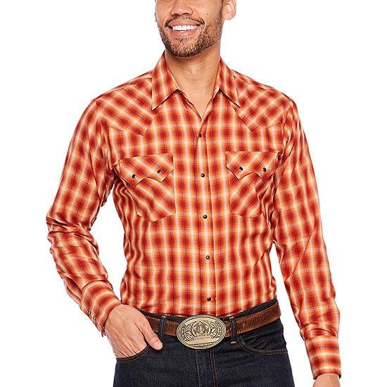 Ely Cattleman Arrow Dobby Textured Plaid Sawtooth Pocket LS Shirt