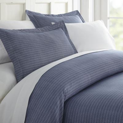 Casual Comfort Premium Ultra Soft Blue Diamond Pattern Duvet Cover Set