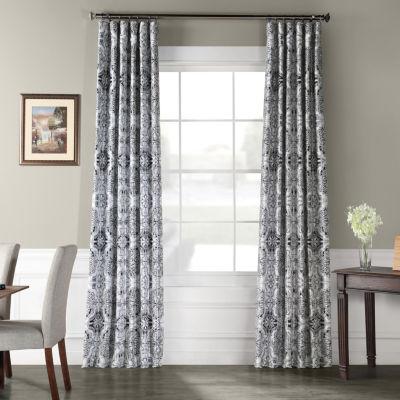Exclusive Fabrics & Furnishing Delft Blue Faux Silk Taffeta Blackout Rod-Pocket/Back-Tab Curtain Panel