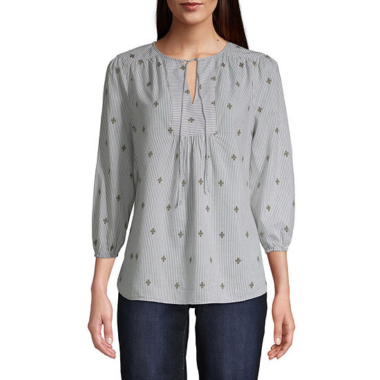 St. John's Bay Womens Round Neck 3/4 Sleeve Peasant Top
