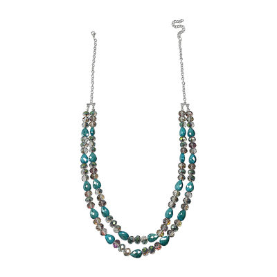 Mixit Teal Double Row Womens Beaded Necklace