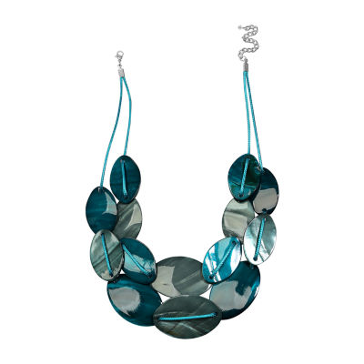 Mixit Teal Tonal Shell Womens Beaded Necklace