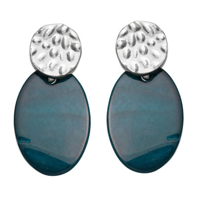 Mixit Teal Shell Drop Earrings