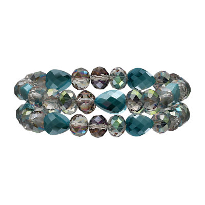 Mixit Teal Double Row Womens Stretch Bracelet