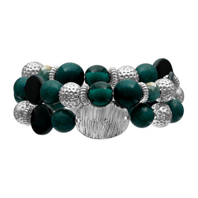 Mixit Teal And Silver Double Row Womens Stretch Bracelet