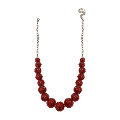 Mixit Red Graduated Fireball Womens Beaded Necklace