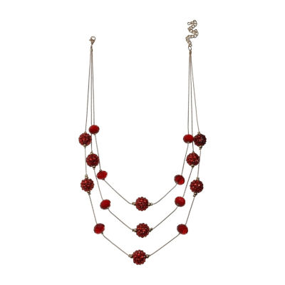 Mixit Womens Red Fireball Illusion Necklace