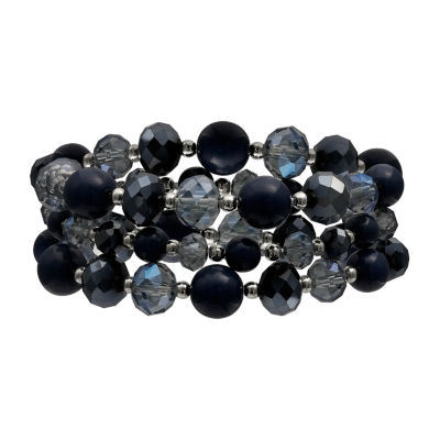 Mixit Blue Bead Triple Row Womens Stretch Bracelet