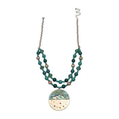 Mixit Teal Mop Womens Pendant Necklace