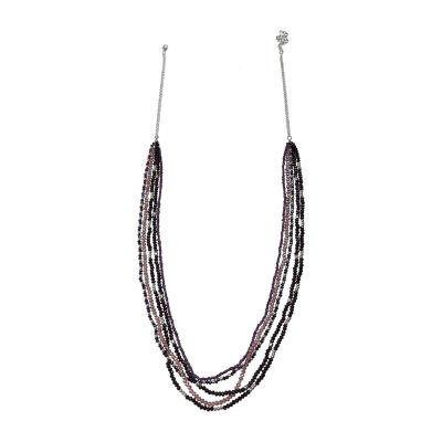 Mixit Purple Layered Womens Beaded Necklace