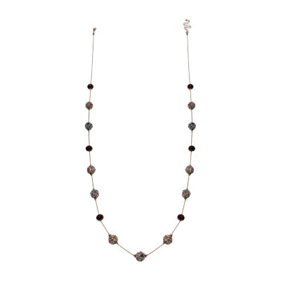 Mixit Purple Bead Long Womens Illusion Necklace