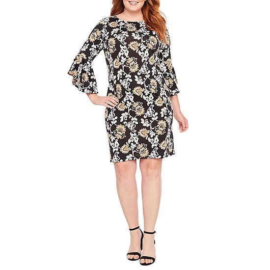 Tiana B-Plus 3/4 Sleeve Floral Shift Dress