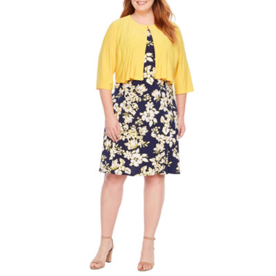 Danny & Nicole 3/4 Sleeve Floral Jacket Dress-Plus