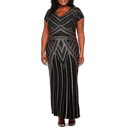 Blu Sage Short Sleeve Glitter Gown - Plus