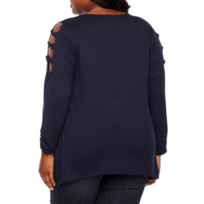 Alyx Long Sleeve Scoop Neck Knit Blouse-Plus