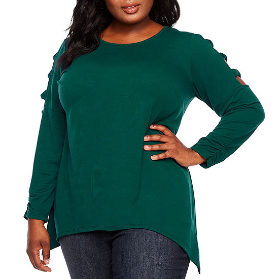 Alyx Scoop Neck Cut-Out Long Sleeve Knit Tunic Top  - Plus