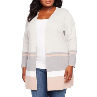 Alyx Long Sleeve Open Front Stripe Cardigan - Plus