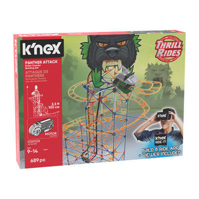 K'NEX Thrill Rides Panther Attack Roller Coaster Building Set with K'NEX Ride It! app  690 Pieces