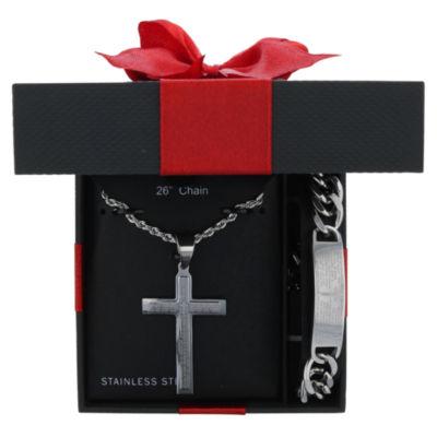 Stainless Steel Cross 2-pc. Jewelry Set