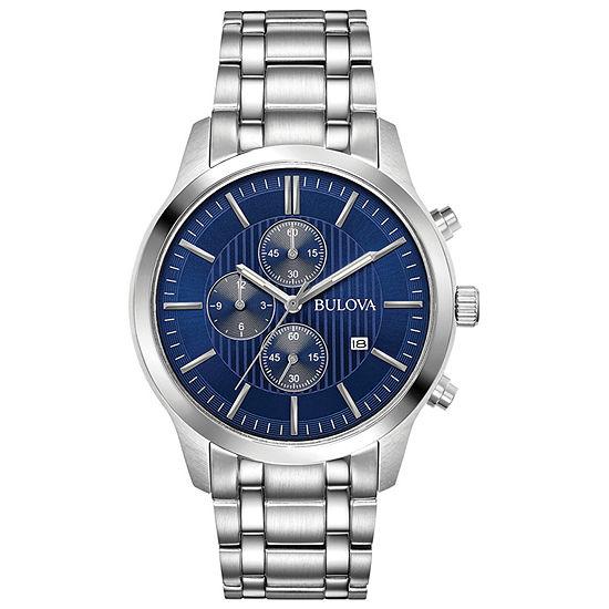 Bulova Mens Silver Tone Stainless Steel Bracelet Watch-96b306