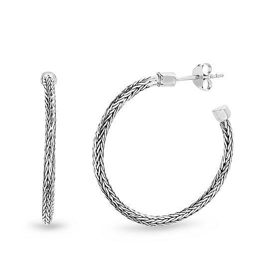 Willowbird Sterling Silver 30mm Curved Hoop Earrings
