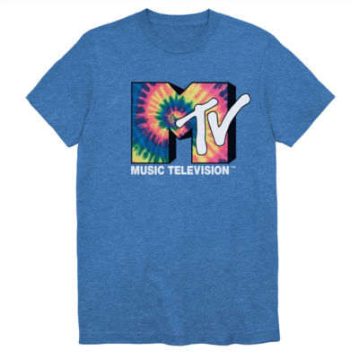 Mens Crew Neck Short Sleeve MTV Graphic T-Shirt-Big and Tall