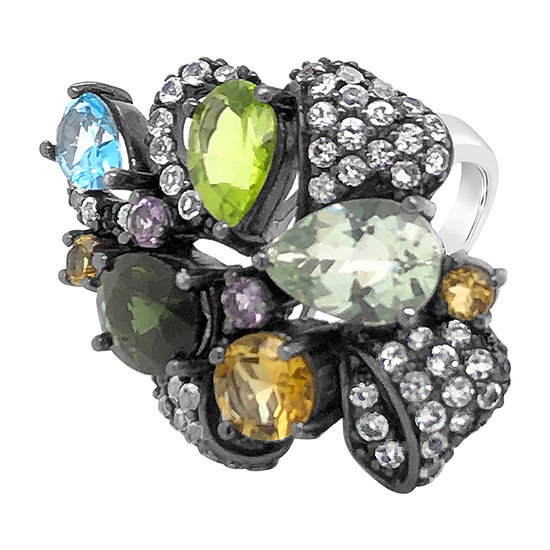 Le Vian Grand Sample Sale™ Ring featuring Hunters Green Tourmaline™ Mint Julep Quartz™ Green Apple Peridot™ Multicolor Semiprecious Ocean Blue Topaz™ set in SLV