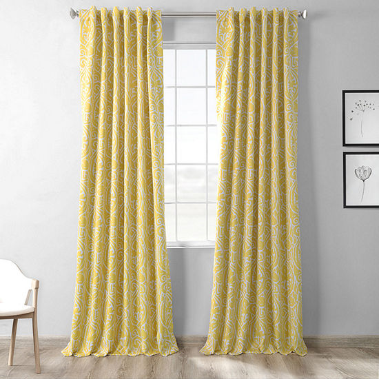 Exclusive Fabrics & Furnishing Printed Blackout Rod-Pocket/Back-Tab Single Curtain Panel
