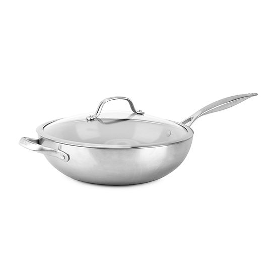 "GreenPan Venice Stainless Steel Ceramic 12"" Non-Stick Covered Wok"