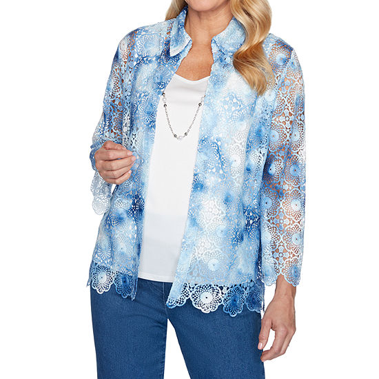 Alfred Dunner Pearls Of Wisdom Womens Crew Neck 3/4 Sleeve Blouse