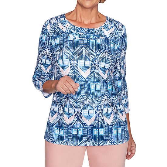 Alfred Dunner Pearls Of Wisdom-Womens Crew Neck 3/4 Sleeve T-Shirt