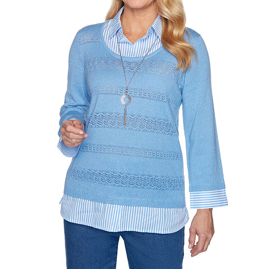 Alfred Dunner Pearls Of Wisdom Womens Crew Neck 3/4 Sleeve Layered Sweaters