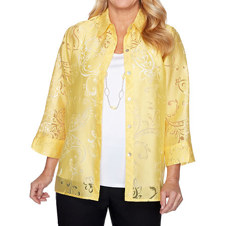 Alfred Dunner Riverside Drive Womens Crew Neck 3/4 Sleeve Layered Top, X-large , Yellow