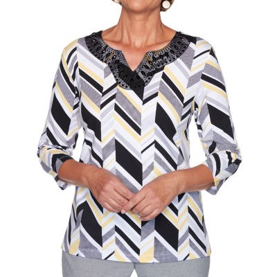 Alfred Dunner Riverside Drive-Womens Split Crew Neck 3/4 Sleeve T-Shirt