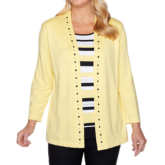 Alfred Dunner Riverside Drive Womens Round Neck Long Sleeve Striped Layered Sweaters