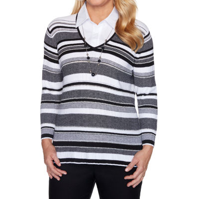 Alfred Dunner Riverside Drive Womens V Neck 3/4 Sleeve Striped Pullover Sweater