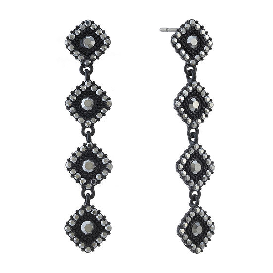 Liz Claiborne Gray Square Drop Earrings