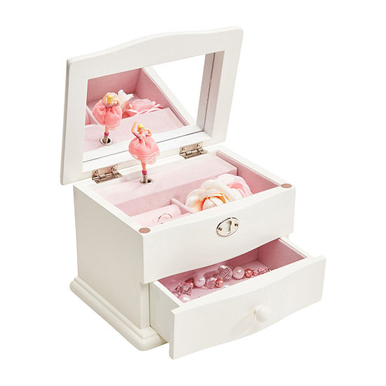 Mele & Co. Girls Marianne Wooden Musical Ballerina Jewelry Box in Ivory