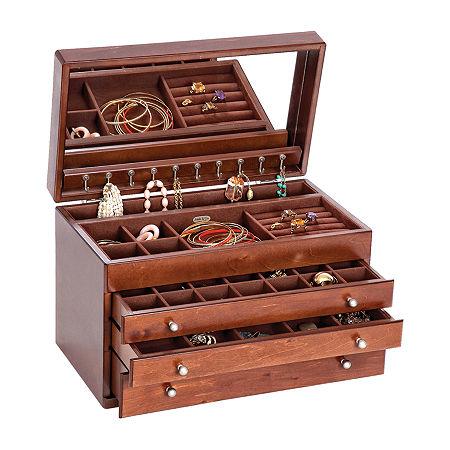 Mele & Co. Brigitte Walnut-Finish Wooden Jewelry Box, One Size , Brown