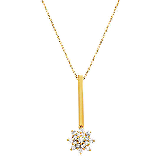 Womens 1/4 CT. T.W. Genuine Diamond 10K Gold Pendant Necklace