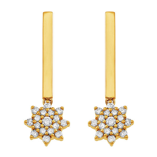 1/4 CT. T.W. Genuine Diamond 10K Gold Drop Earrings