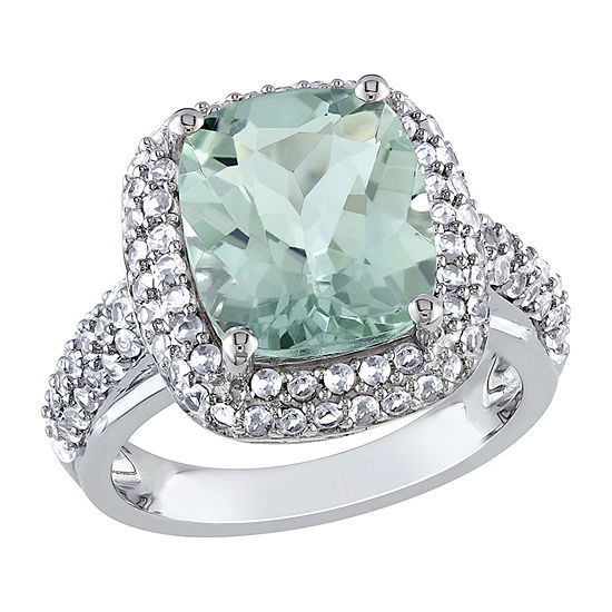 Womens Genuine Green Amethyst Sterling Silver Square Halo Cocktail Ring
