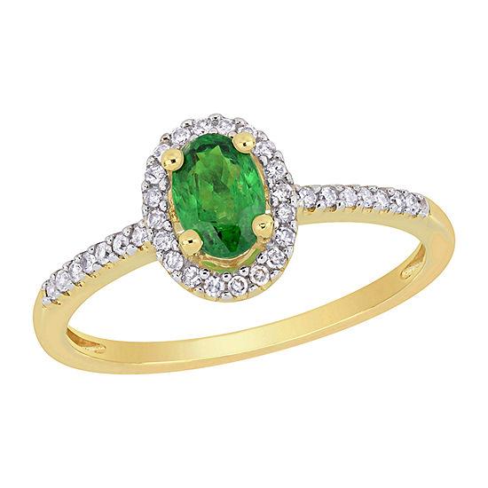 Womens 1/8 CT. T.W. Genuine Green Tsavorite 10K Gold Oval Halo Engagement Ring