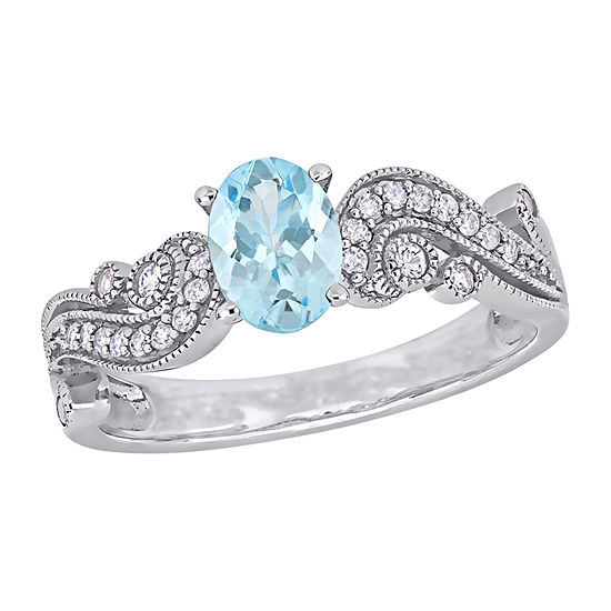 Womens 1/10 CT. T.W. Genuine Blue Aquamarine 10K White Gold Oval Cocktail Ring