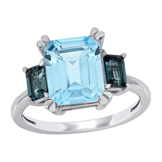 Womens Genuine Blue Topaz 14K White Gold Square 3-Stone Cocktail Ring