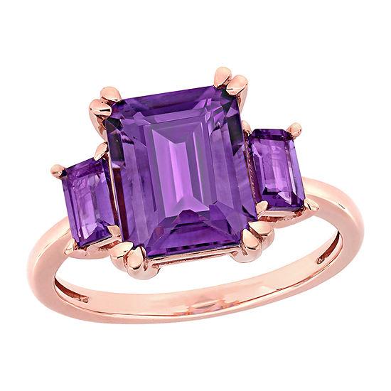 Womens Genuine Purple Amethyst 14K Rose Gold Square 3-Stone Engagement Ring