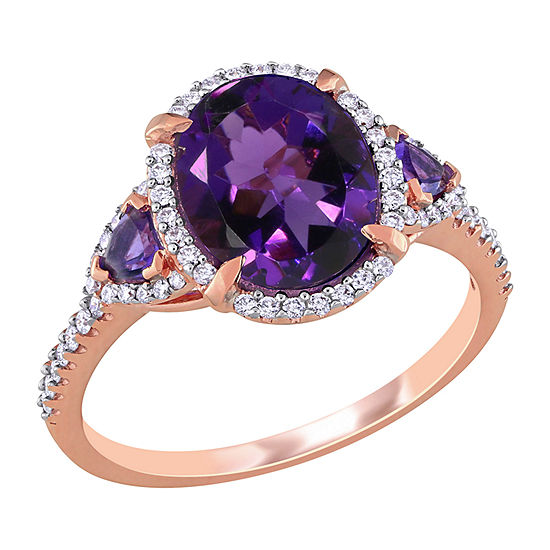 Womens 1/4 CT. T.W. Genuine Purple Amethyst 14K Rose Gold Oval 3-Stone Engagement Ring